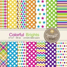 Bright Colors Digital Papers by JennyL Designs