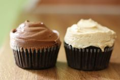 The Vanilla Bean Blog | vegan chocolate cupcakes with peanut butter bourbon frosting. and chocolate coffee frosting.