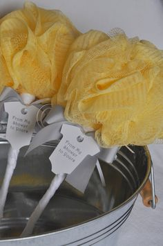 Yellow and Gray Baby Rattle Bath Puff Baby Shower Favor with Tag