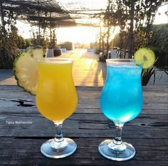 The Ice Ice Baby and Skyy Blue! To see how we made these tropical beauties, visit us here: http://www.tipsybartender.com/blog/2015/11/3/ice-ice-baby-sky-blue