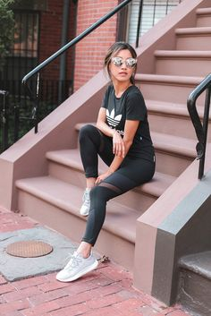 black workout wear athletic outfit // adidas sneakers + zella leggings by extra petite blog