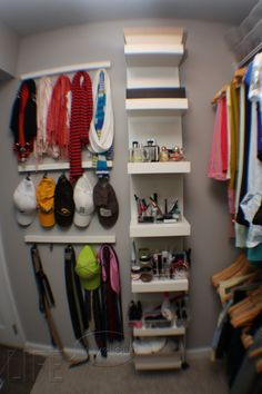 Master Closet Organization - how to use the space behind the door- i need that stinking little shelf