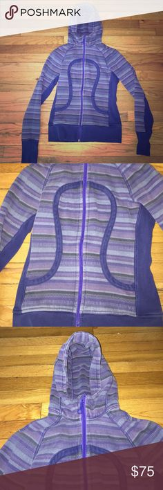 Lululemon purple striped zip up hoodie Really cute and warm Lululemon purple striped zip up hoodie with 2 front pockets. Tag was removed with size but I would guess it's a 4 lululemon athletica Tops Sweatshirts & Hoodies