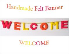 Felt WELCOME Sign Banner Garland Bunting Pink by AppledoorStudio, £8.40
