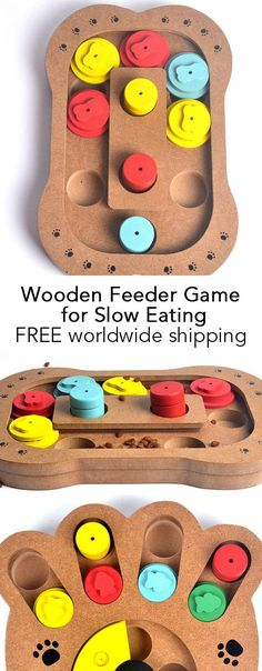 Wooden Feeder Game for Slow Eating Dog Gadgets, Dog Control, Vizsla Puppies, Boredom Busters, Dog Barking, Dog Training Tips, Free Stuff, Pet Accessories, Dog Care