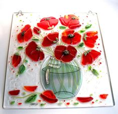 Poppy Picture in Fused Glass Art Glass Picture por CDChilds en Etsy Slumped Glass, Fused Glass Art, Mosaic Glass, Glass Fusion Ideas, Glass Flowers, Stained Glass Patterns, My Glass, Glass Design, Glass Panels