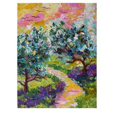 Olive Trees and Lavender Provence Impressionist Oil Painting on Russian Linen by Ginette Callaway. via Etsy.