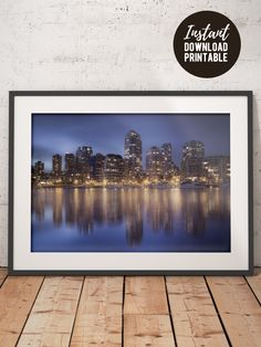 Printable picture of Vancouver Downtown, Canada. Wall art to decorate your office, bedroom or living room. Instant download picture for printing on material of your choice, let it be poster, canvas, photographic print or wood print. Cityscape photo of Vancouver downtown at night. #vancouver #canada #photography #cityscape #printable #instantdownload #photoprints Some Beautiful Images, Beautiful Places, Vancouver, Canada Wall, Granville Island, Printable Pictures, Types Of Printer, Night Photography, Photographic Prints