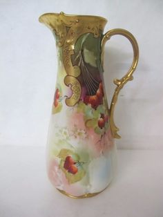 Gorgeous and Very RARE C 1900 Pickard Pitcher with Cranberries | eBay
