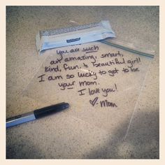 Suggestions for daily topics fo lunch box love notes to encourage your school-kid.