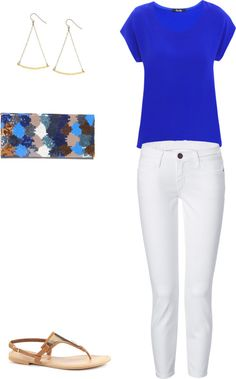 cobalt blue top, white jeans, tan sandals, sparkle clutch and gold earrings. Fashion Over, Beach Fashion, Fall Fashion Trends, Fashion Tips, Dress Me Up, Blue Tops, Passion For Fashion, Spring Outfits, What To Wear