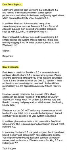 Googled Computer Jokes... Boyfriend 5.0 Vs Husband 1.0