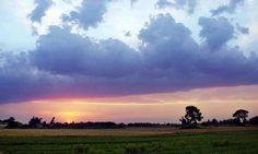 SIALKOT: Apr29 – A beautiful view of sunset seen from crop lands near Zafarwal.