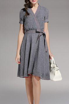 Gray Belted V Neck Dress   Knee Length Dresses at DEZZAL