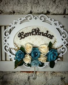 Decoupage Vintage, Shabby Chic Crafts, Vintage Shabby Chic, Baby Crafts, Diy And Crafts, Name Plates For Home, Welcome Home Signs, Diy Wood Signs, Rose Art
