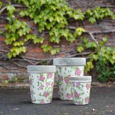 Rose Print Round Pot - Medium, Aged Ceramics