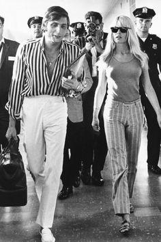 Brigitte Bardot with Gunter Sachs, entering JFK Airport in New York City, August 1, 1966