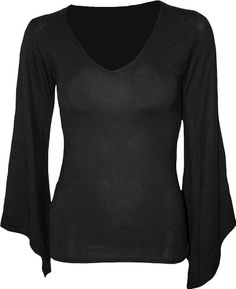 b0b337a6a8ad1f Spiral - Womens - GOTHIC ELEGANCE - V Neck Goth Sleeve Top Black - XL:  Allure of darkness, inspired by Gothic influence. LS V-Neck GothSleeve Blk  is made of ...