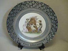 RWP Pewter Porcelain Insert Plate Kate Greenaway Children Playing Wheat 1973