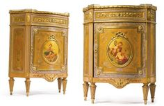 A PAIR OF LOUIS XVI STYLE GILT BRONZE MOUNTED, POLYCHROME AND VERNIS MARTIN DECORATED SIDE CABINETS Paris, circa 1890: