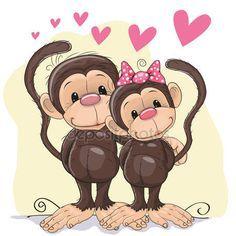 Descargar - Los amantes monos — Ilustración de stock #73368167