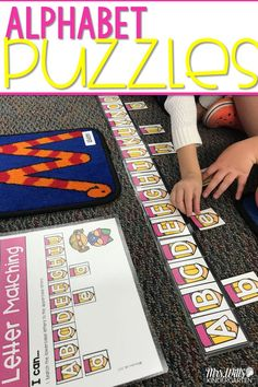 Puzzles stations and Puzzle centers for kindergarten! These self-correcting puzzles will be a big hit for your word work activities! Literacy Skills included: Letters Matching Letters to Sounds Beginning Sounds Digraphs Short Vowels Long Vowels CVC Word Families Math Skills included: Counting Objects to 30 2D Shapes 3D Shapes Addition Subtraction Time Money