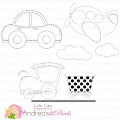 Cute Cars Digital Stamps, Digital Stamps, Cars,Trains, Planes,Transportation Digital Stamps, Instant Download