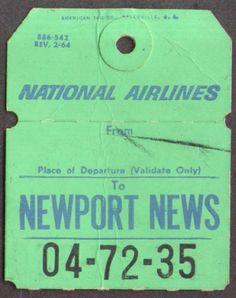 National Airlines Newport News VA PHF bag check 1964 Newport News Va, National Airlines, Vintage Airline, Bag Tag, Ephemera, Vacations, Las Vegas, Tags, Retro