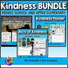 3 great Kindness products are bundled up for your MIDDLE SCHOOL or UPPER ELEMENTARY students for you to save $! This bundle includes the Kindness Journal: Learn, journal, reflect and DO acts of kindness! product,  Acts of Kindness: Bucket Filling for Upper Elementary and Middle School!, and Kindness Poster: Create Informational Posters - Upper Elementary and Middle School.