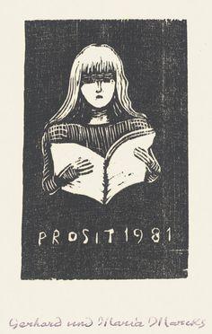 Gerhard Marcks Neujahrsgruß 1981 (Lesendes Mädchen)