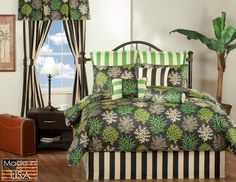 Click Image Above To Purchase: St. Barts Onyx Black And Green Tropical Queen Bedspread Tropical Bedding, Coastal Bedding, Luxury Bedding, Comforter Cover, Comforter Sets, Duvet Covers, Toile Bedding, Teen Bedding, Beach Bedding Sets