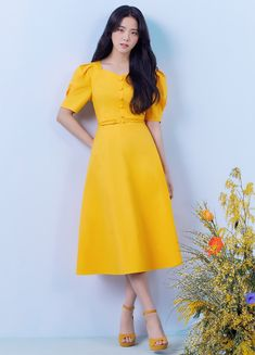 Blackpink Fashion, Fashion Outfits, Purple Line, Blackpink Photos, The Most Beautiful Girl, Blackpink Jisoo, Yellow Dress, South Korean Girls, Kpop Girls