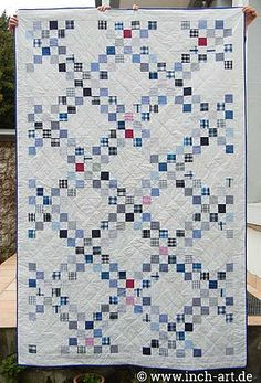 Double Irish Chain Barn Quilt Designs, Quilting Designs, Quilting Ideas, Modern Quilting, Hexagon Quilt, Square Quilt, Irish Chain Quilt, Postage Stamp Quilt, Two Color Quilts