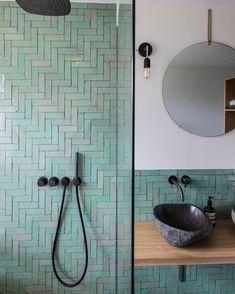 Classic but unique Dutch architecture styles exemplified in stunning Frans Halsstraat building bohemianbathroom - Bathroom Flooring Family Bathroom, Modern Bathroom, Small Bathroom, Moroccan Bathroom, Bathroom Green, Bohemian Bathroom, Bathroom Vintage, Minimal Bathroom, Moroccan Tiles