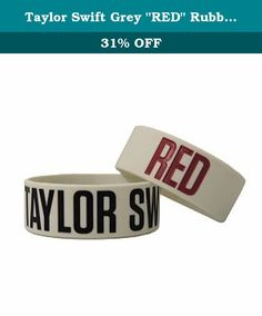 """Taylor Swift Grey """"RED"""" Rubber Bracelet. Featuring logos from the """"RED"""" album, this grey bracelet features """"TAYLOR SWIFT"""" debossed in black and """"RED"""" in red. One size fits all."""