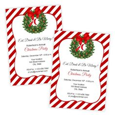 Amazing Christmas Or Holiday Party Invitation   Holiday Wreath   DIY Printable  Template   Instant Download   In Holiday Templates For Word