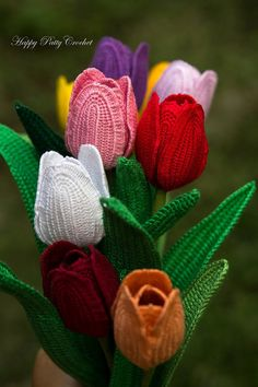 Crochet Tulip Pattern - Crochet Flower Pattern - Single Late Tulip Pattern - Flower Crochet Pattern for Decor and Bouquets, Diy Crochet Flowers, Crochet Bouquet, Crochet Puff Flower, Crochet Flower Patterns, Love Crochet, Beautiful Crochet, Crochet Crafts, Easy Crochet, Crochet Projects