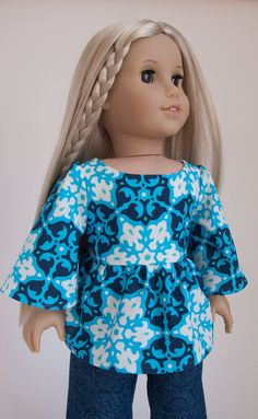 "Ruffled 1970s Style Tunic 18"" American Girl Doll Shirt 18 Inch Doll Top in Blue Amy Butler Mosaic"