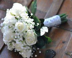 Wedding Flowers, Wedding Bouquet, Keepsake, Bridal Bouquet, Wedding Flowers, Wedding Bouquet, Ivory, White Roses with Babies Breath Bouquet.
