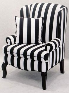 Black-and-white striped Encore wingback chair, $125, available throughout Southern California from Town & Country Event Rentals.  Photo: Courtesy of Town & Country Event Rentals