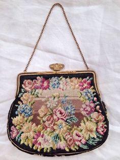 Vintage Austrian Petit Point floral Evening Bag Purse black enamel marcasite | eBay