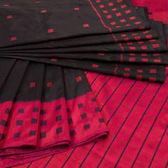 Handwoven Black Ikat Silk Saree With Ganga Jamuna Border & Striped Pallu 10017505 - profile - AVISHYA.COM