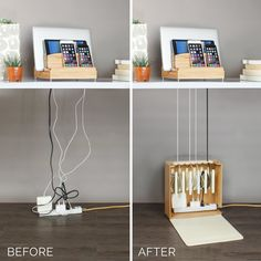 The Ultra Charging Station & Cord Corral Combo brings a simple tech solution to your home. Space to charge three phones a tablet and a laptop while hiding cords. Home Office Design, House Design, Design Design, Garden Design, New Swedish Design, Cord Organization, Computer Desk Organization, Small Office Organization, Bedroom Organization