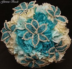 Turquoise and Ivory Beaded Lily Bridal Wedding Flower 18 piece set with Peonies and Roses~ Unique French beaded flowers.  Includes Bouquets Corsages and Boutonnieres Handmade