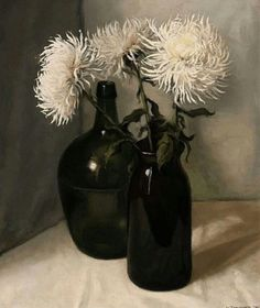 Still Life with Chrysanthemums by Jan van Tongeren, 1932. Oil on canvas Still Life Flowers, Great Works Of Art, Still Life Art, Arte Floral, Ikebana, Be Still, White Flowers, New Art, Flower Art