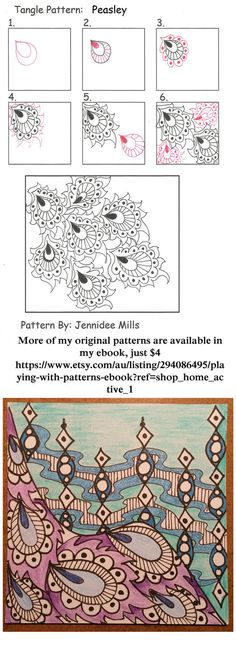 Peasley zentangle pattern by astraldreamer tangle pattern Zentangle Drawings, Doodles Zentangles, Doodle Drawings, Tangle Doodle, Zen Doodle, Doodle Art, Zantangle Art, Zen Art, Doodle Patterns