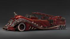 Steampunk car concept by Andrew Palyanov on ArtStation. Steampunk Design, Fire Engine, Dieselpunk, Fire Trucks, Concept Cars, Futuristic, Hot Rods, Antique Cars, Steam Punk
