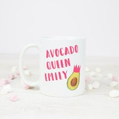 Avocado gift for best friend or avocado office mug from Tea Please Powerful Women Quotes, Personalized Mugs, Best Friend Gifts, Woman Quotes, Avocado, Tea, Cool Stuff, Unique Jewelry, Tableware