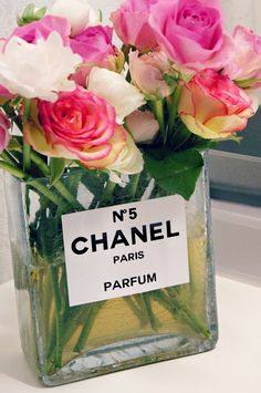 DIY Chanel perfume bottle flower vase