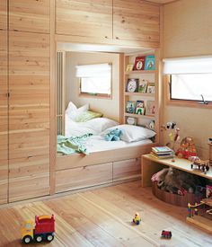 Only a set of sliding doors separates the kids' room from the master bedroom in a Toronto, Ontario, home. When the time is right, there's a track inlaid in the ceiling for a four-panel bifold wall to divide the space into two private rooms for the children. Read the whole story here.
